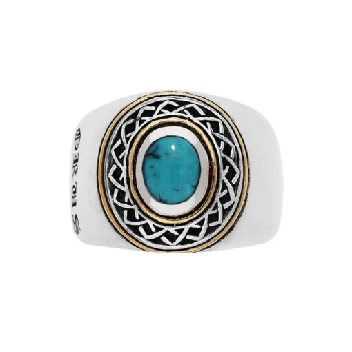 Men's ring silver ethnic tribal turquoise