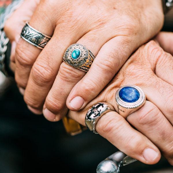 Silver man lapis buddha ring 6