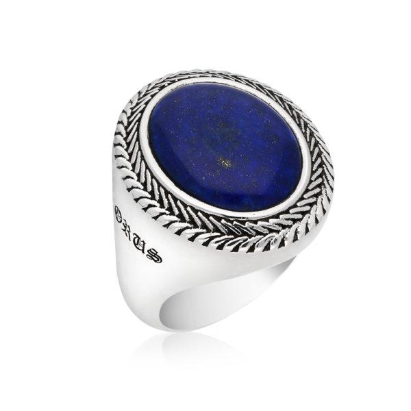 Silver man lapis buddha ring 3