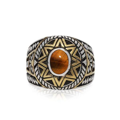 Men's silver ring ethnic sun tiger eye silver gold