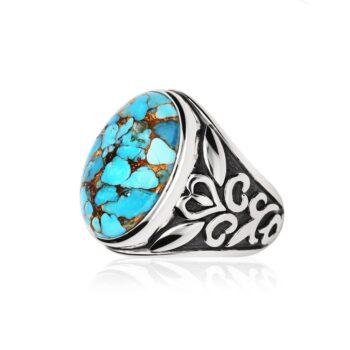 银色男士戒指和侧面绿松石石
