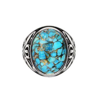 男士银绿松石石戒指