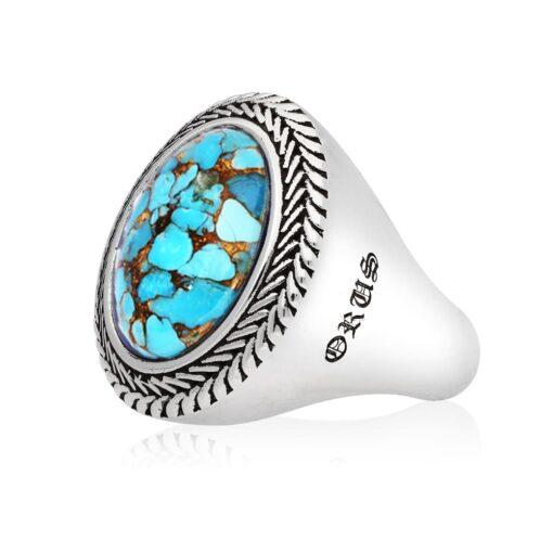 Ring man silver turquoise buddha 3
