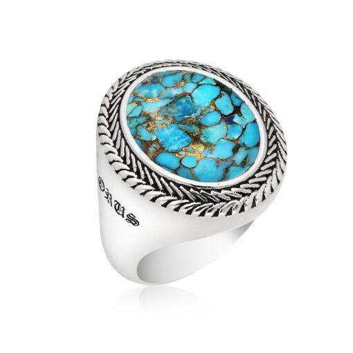 Ring man silver turquoise buddha 2