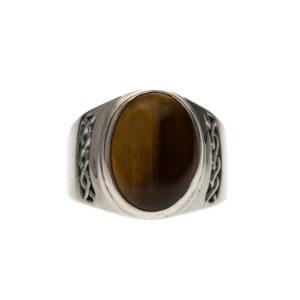 男士大型虎眼银戒指9