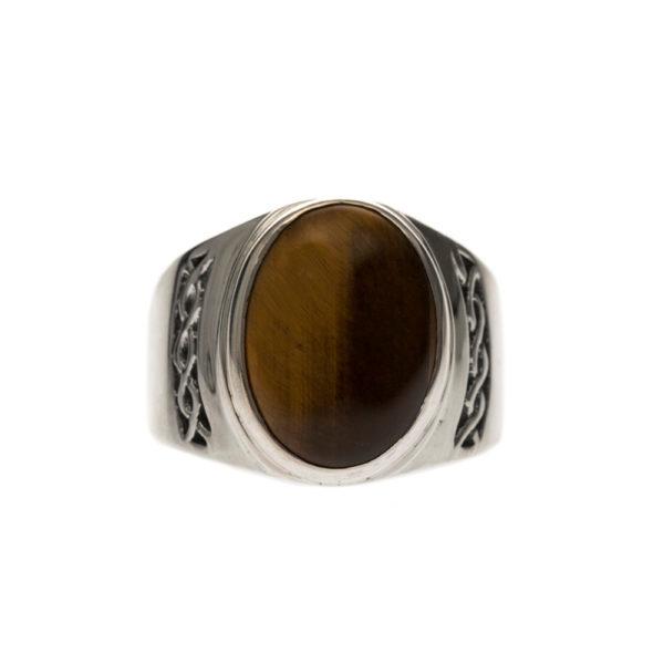 Men's massive tiger eye silver ring 3