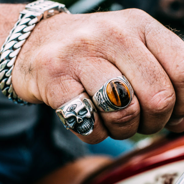 Men's massive tiger eye silver ring 4