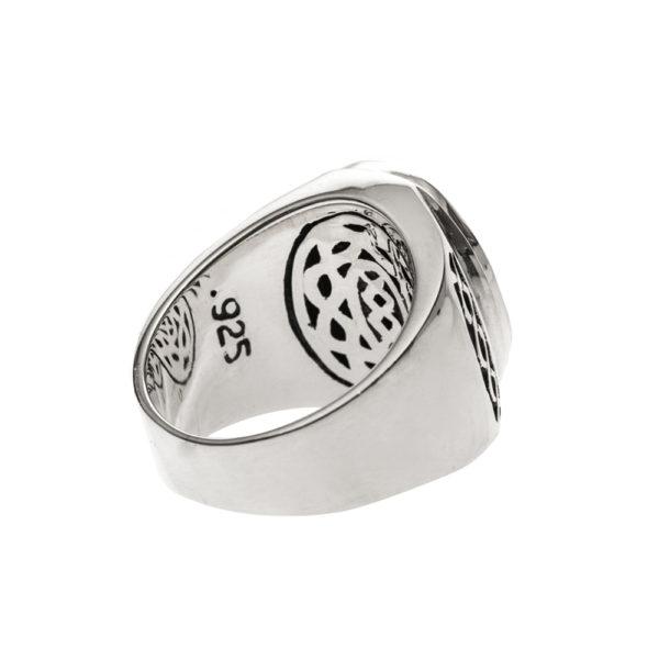 Men's massive silver onyx ring 5