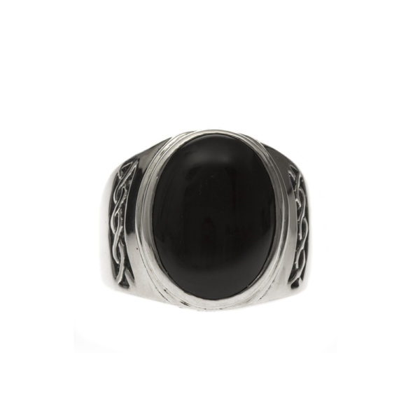Men's massive silver onyx ring 3