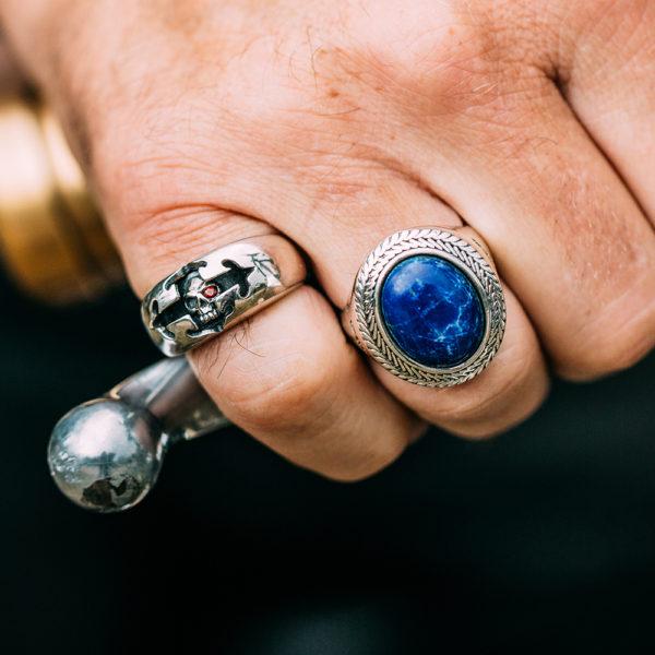 Silver man lapis buddha ring 5