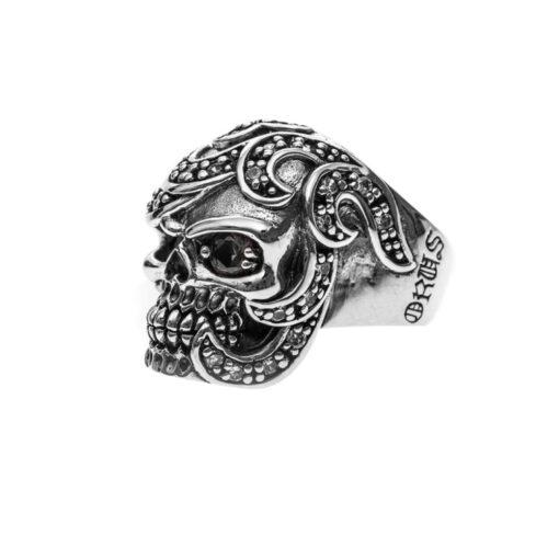 Anillo de hombre Mahori calavera plata 4