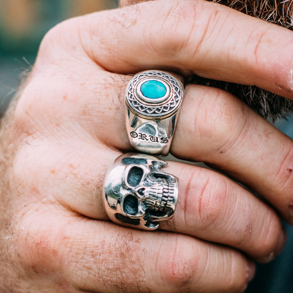 Ring man silver ethnic tribal turquoise 4