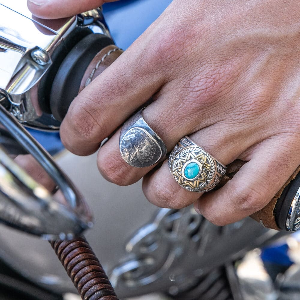 Ring man silver sun ethnic turquoise 4
