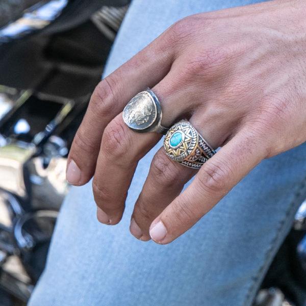 Ring man silver sun ethnic turquoise 6