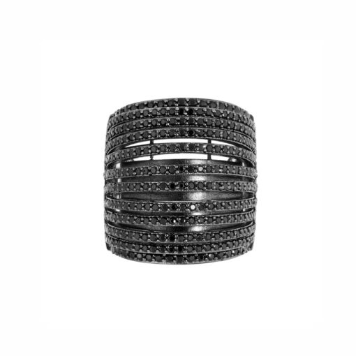 Black multi-ring curved ring 2