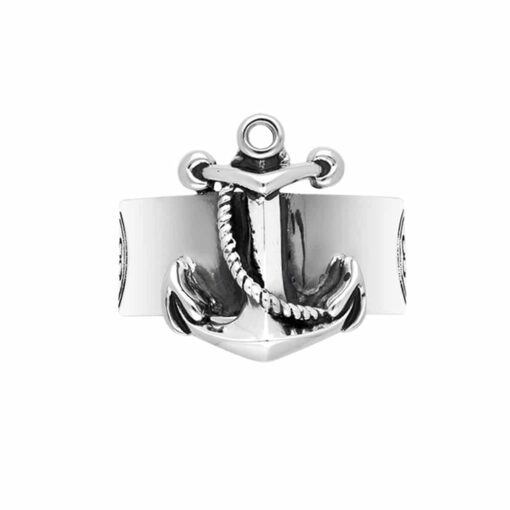 Men's ring anchor navy silver 3