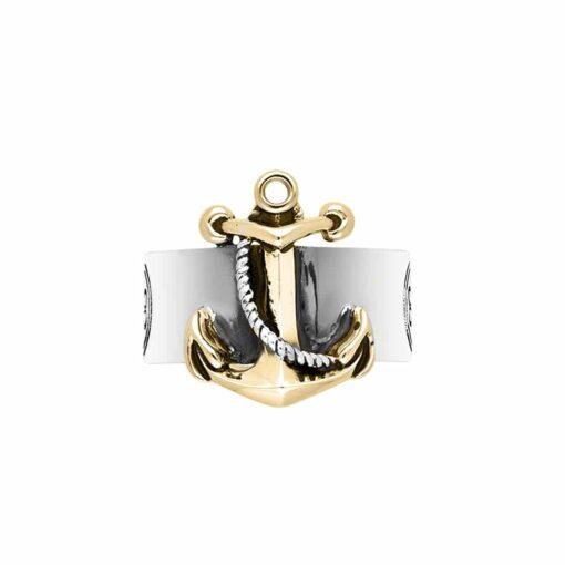 خاتم مرساة البحرية من الفضة والذهب للرجال 3