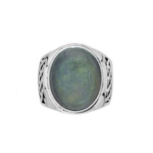 男子戒指飞白石块状银6