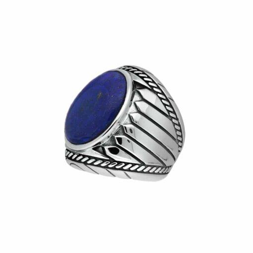 戒指男子青金石印第安纳银4