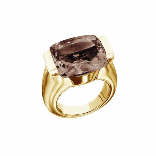 Maia ring silver gilded smoked quartz stone 3