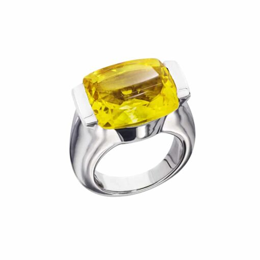 Bague Maia argent  pierre quartz jaune 3