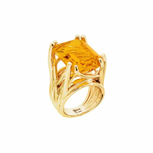 Citrine stone golden silver muse ring 3