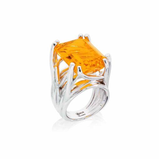 Zilveren Muse citrien stenen ring 3