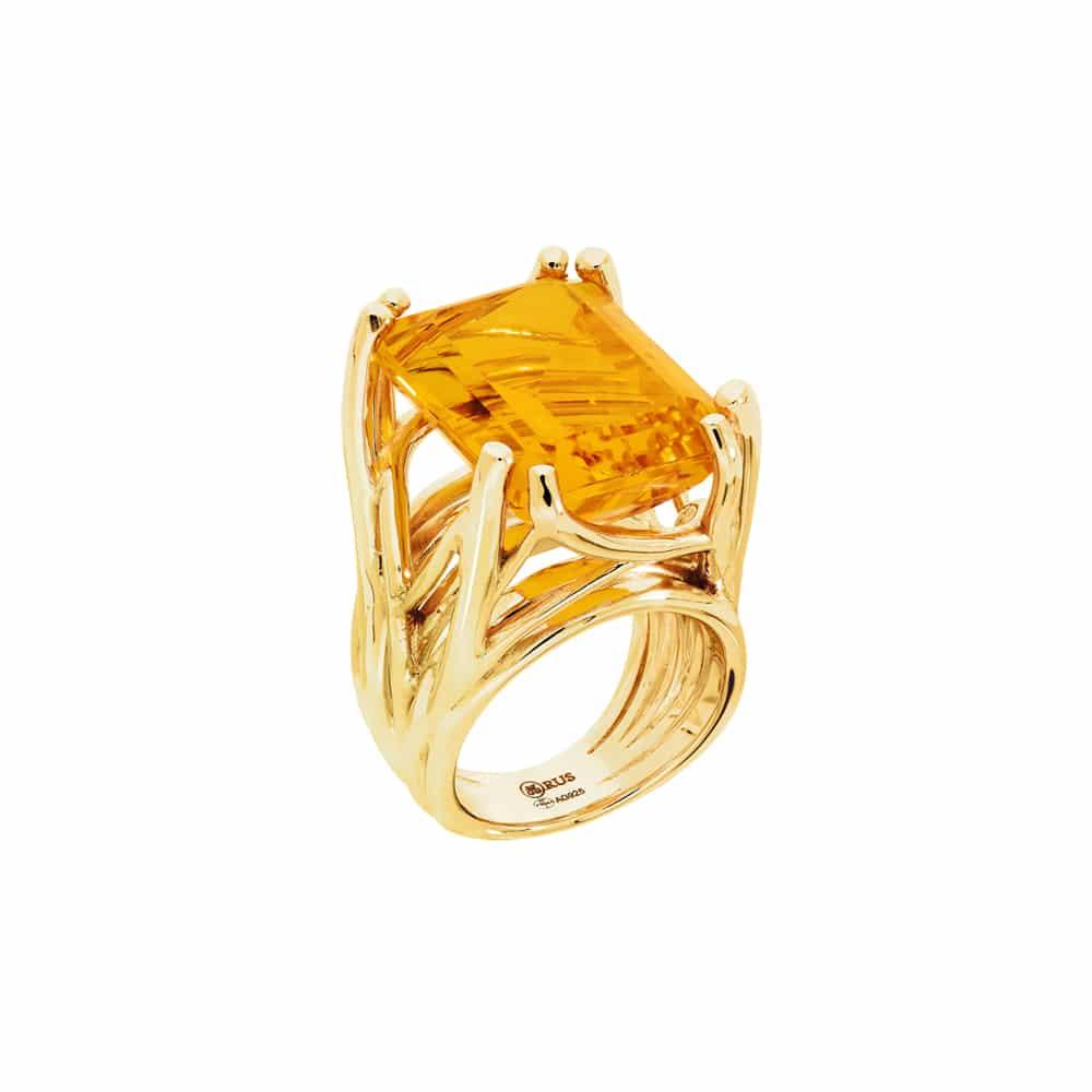 Bague muse argent doré pierre citrine 3