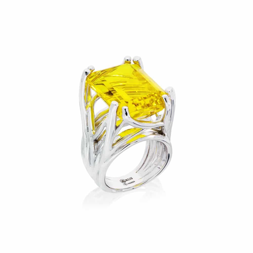 Bague muse argent quartz jaune 3