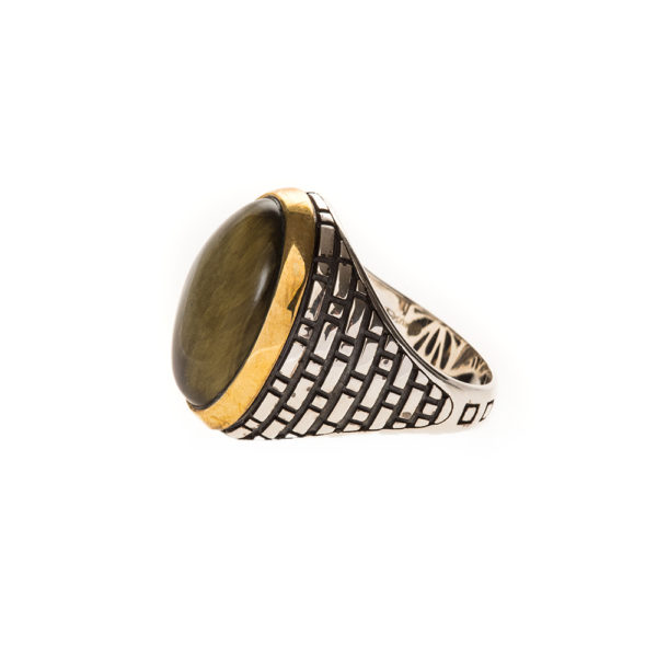 Men's silver eye tiger eye ring 4