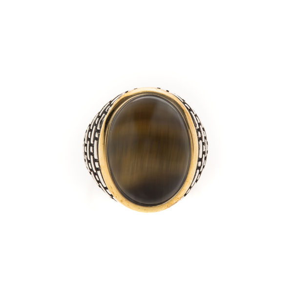 Men's silver eye tiger eye ring 3
