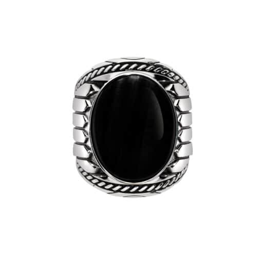 Men's silver ring onyx indiana 2