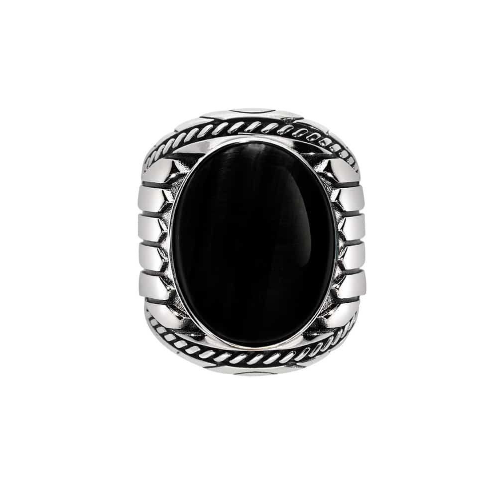 Bague homme argent onyx indiana 2