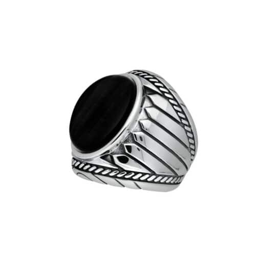 Men's silver ring onyx indiana 3