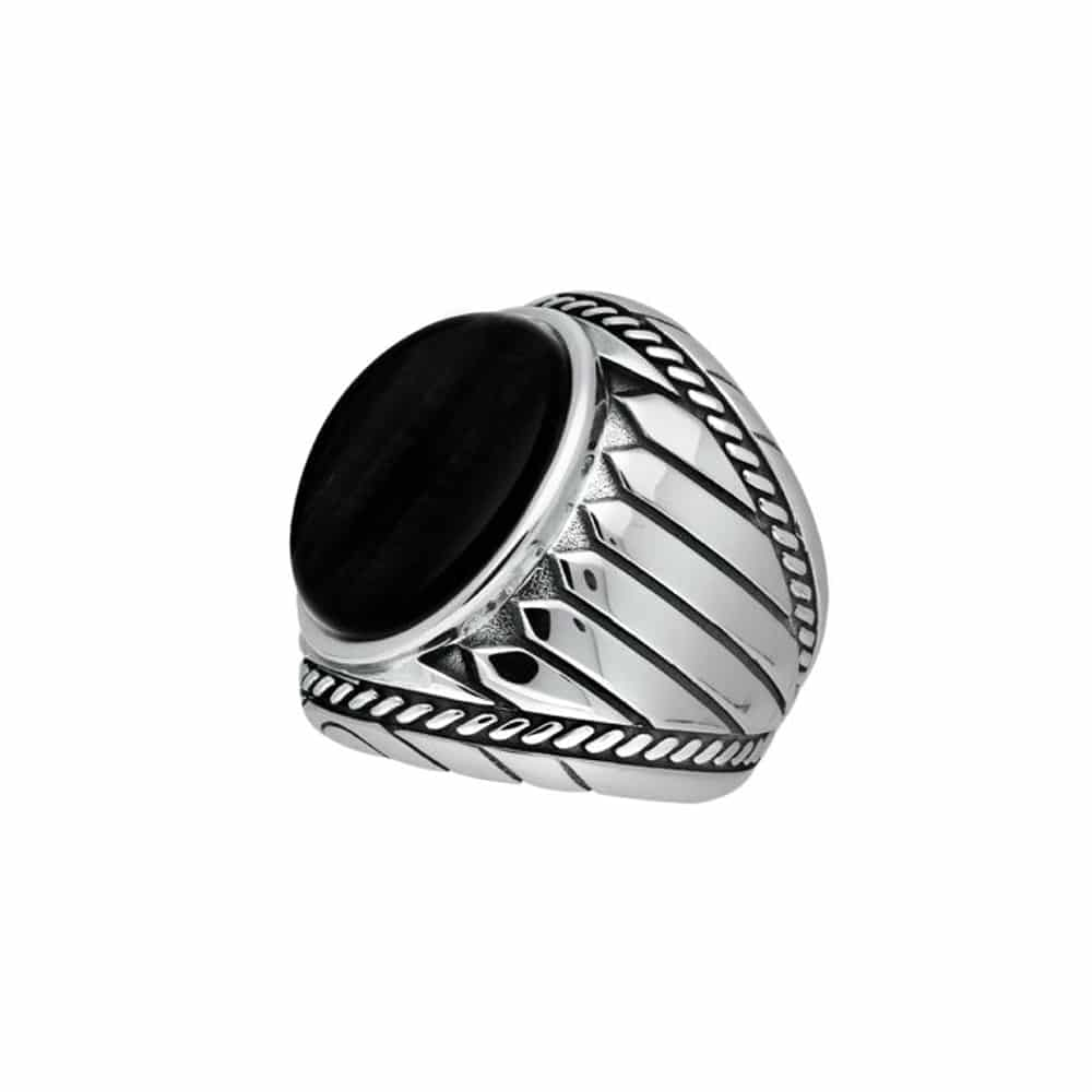 Bague homme argent onyx indiana 3