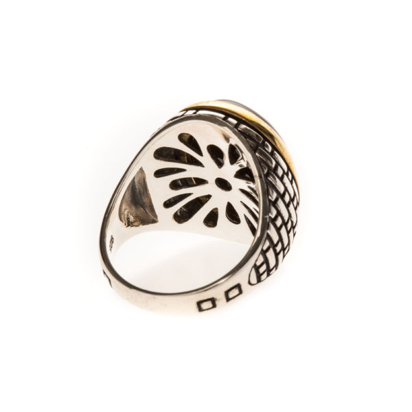Men's silver eye tiger eye ring 5