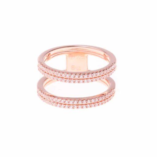 Bague argent rose double anneaux sertis 3
