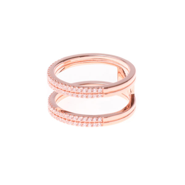 Ring silver pink double rings set 4
