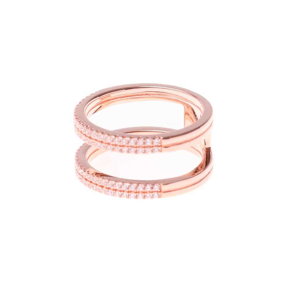 Bague argent rose double anneaux sertis 4