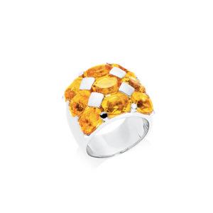 Bague héra rhodié quartz citrine 3
