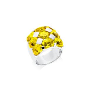 黄色石英铑赫拉戒指6