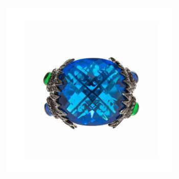 Silver peacock blue sapphire ring