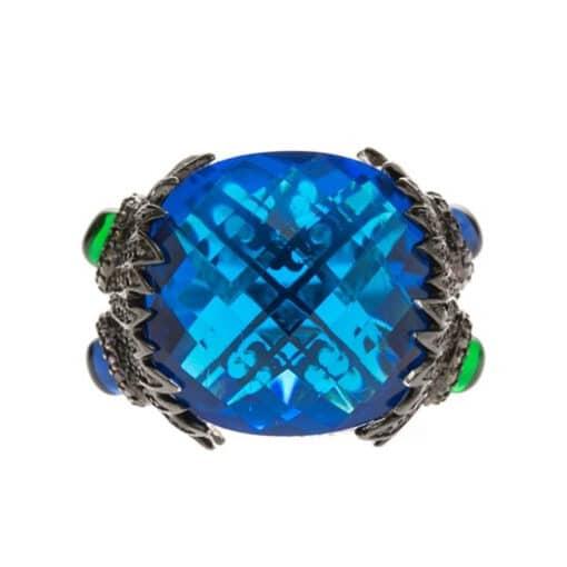 Silberner pfauenblauer Saphirring 3