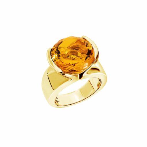 Bague sélène argent doré pierre citrine 3