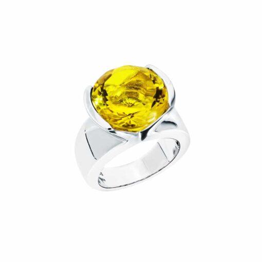 Bague sélène argent  pierre quartz jaune 3