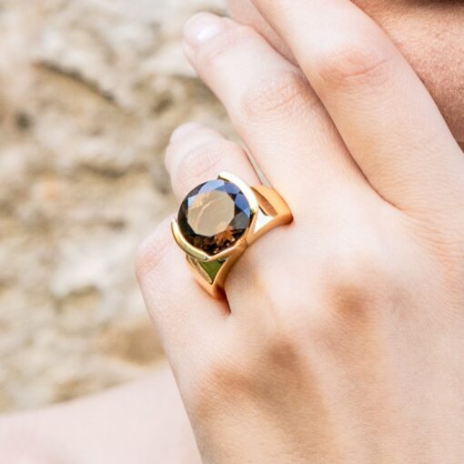 Selene ring silver gold smoked quartz stone 4