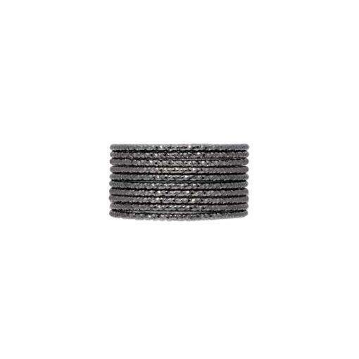 Bague semainier argent noir anneau tressé type 3