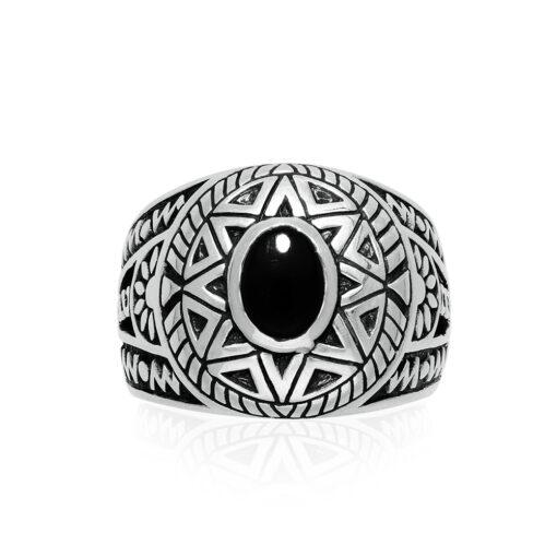 Ring man silver ethnic sun onyx 3