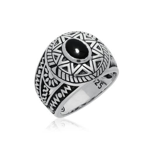 Ring man silver ethnic sun onyx 4