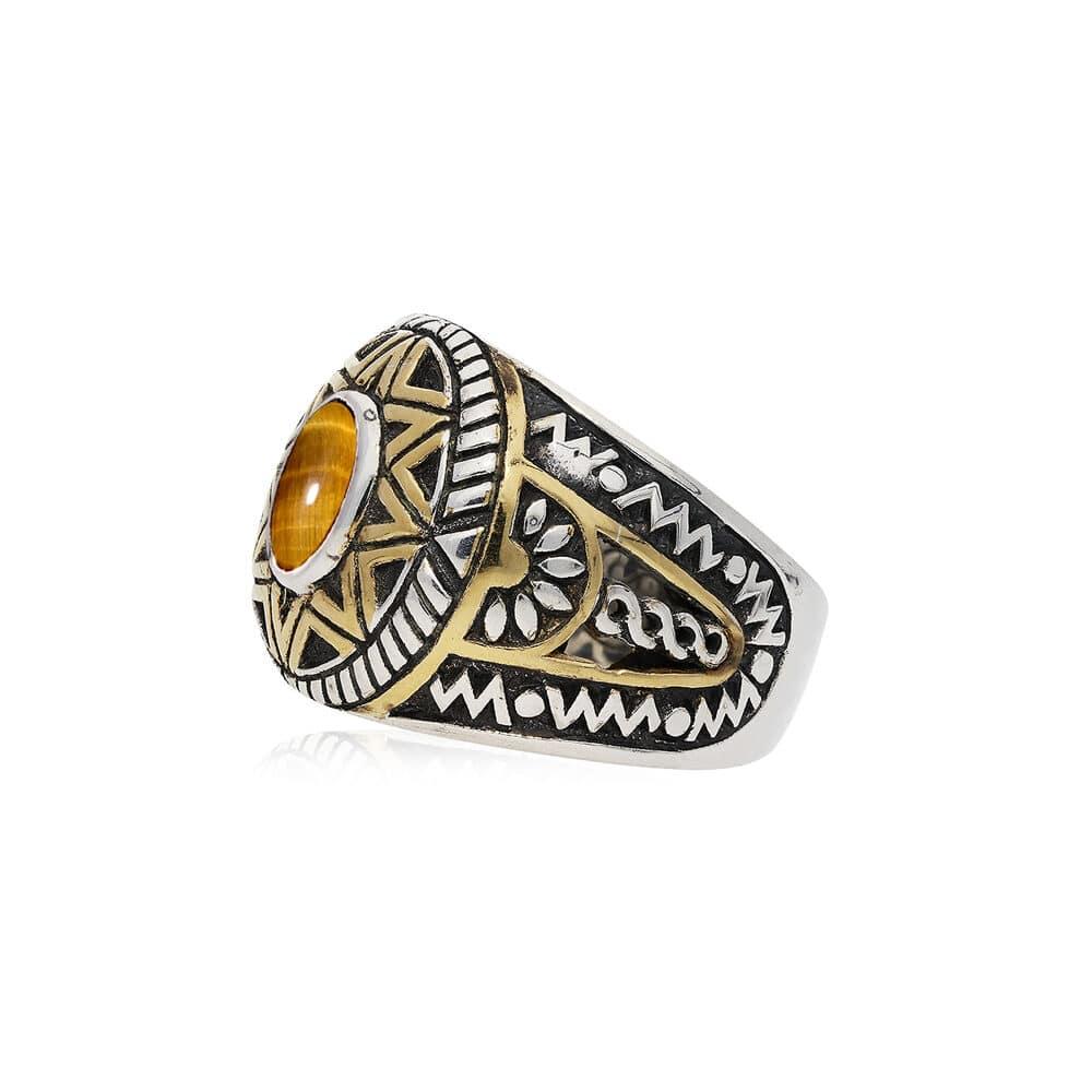 Ring man silver ethnic sun tiger eye silver golden 3